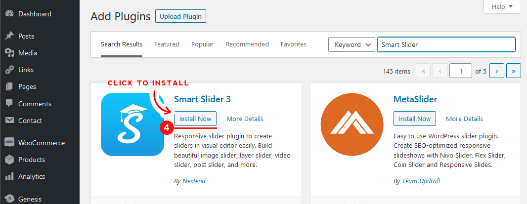Click the 'Install Now' button to install your new plugin