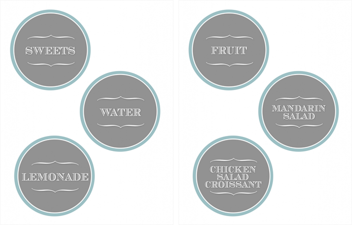 List of food labels included in the free download.