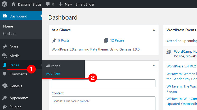 Adding a page in your WordPress Dashboard