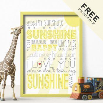 You Are My Sunshine   Free Printable