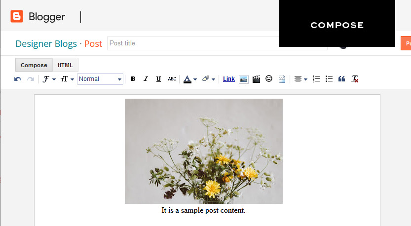 Compose view of blogger post