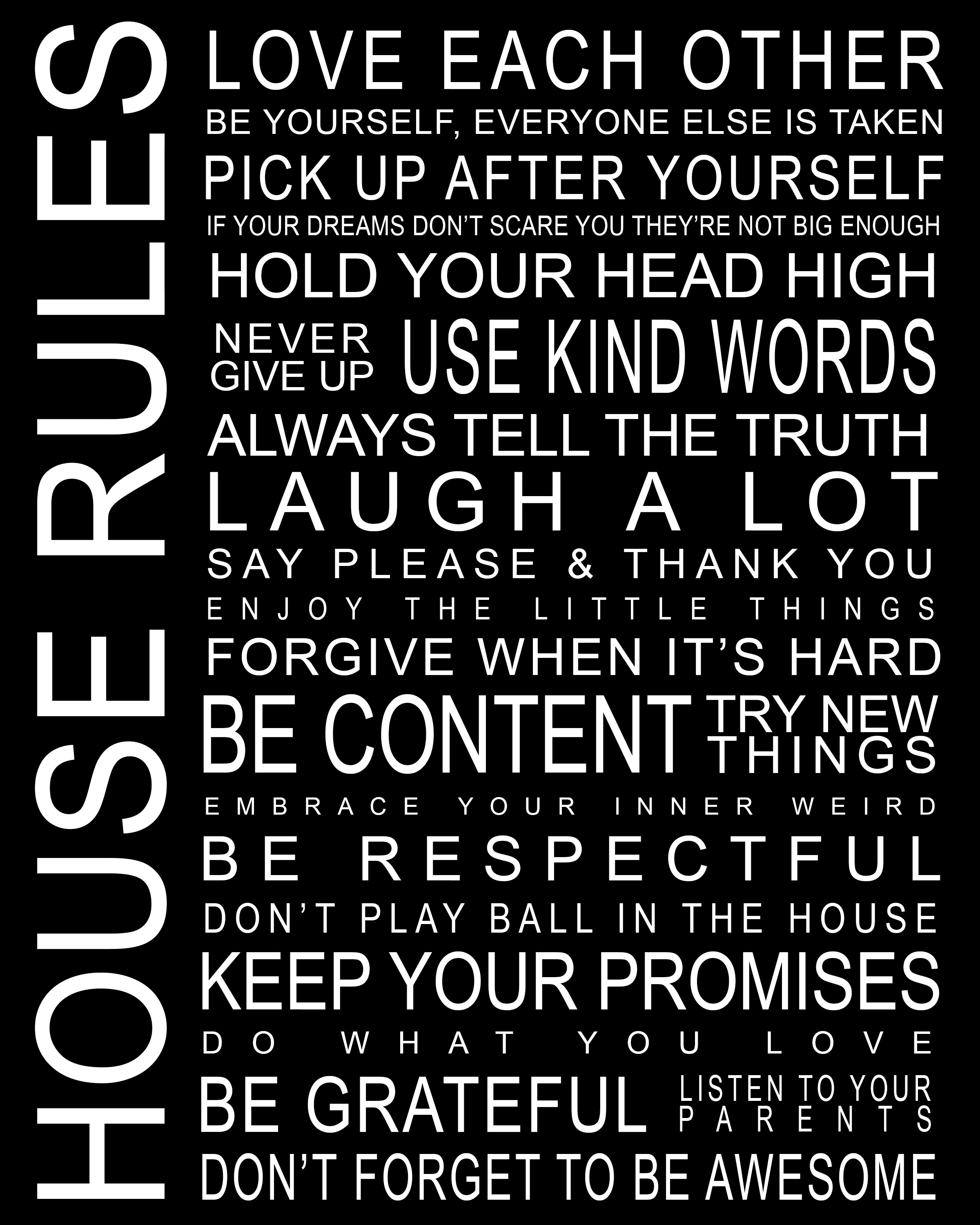 21 rules of this house posters for kids