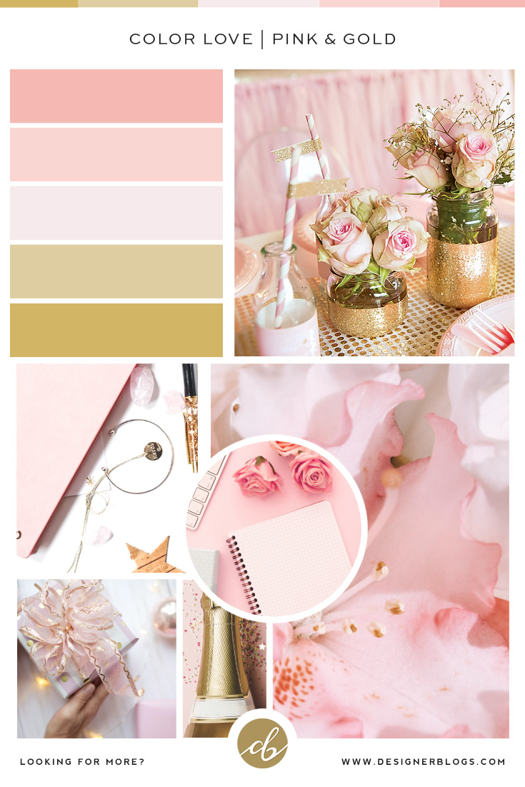 Pink and gold color palette inspirations