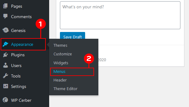 WordPress Dashboard menu option