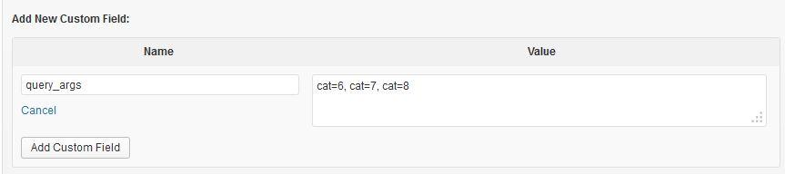 Add query_args custom field