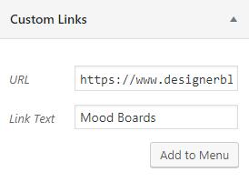 WordPress Menu Bar Custom Links - Designer Blogs
