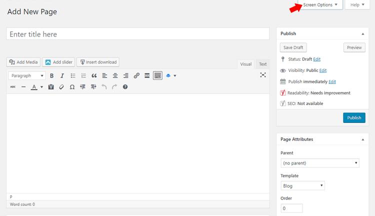 Screen Options in Post Editor - Designer Blogs