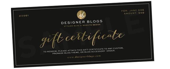 gift certificates designerblogs com