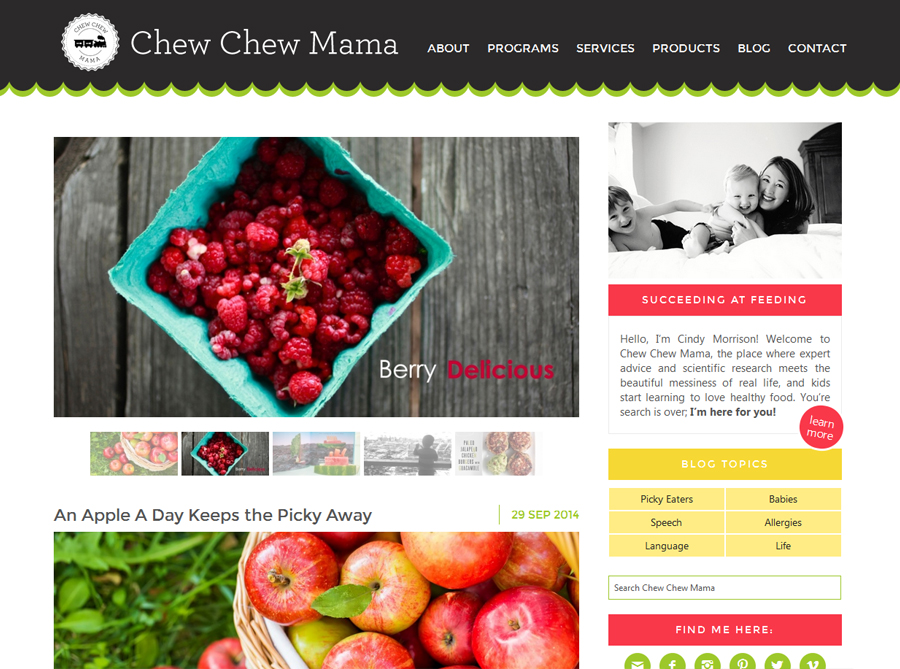 Chew Chew Mama | Custom Blog Design | by Kate