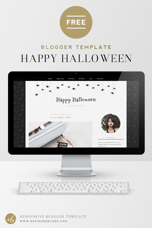Free Halloween blogger template with cute little spiders