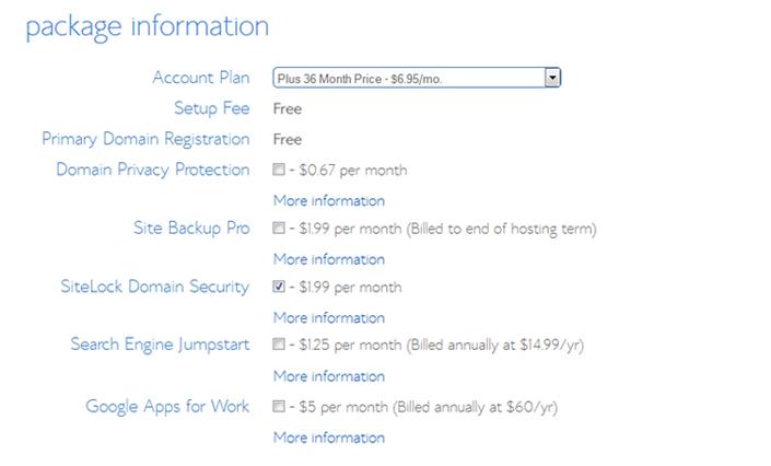 Bluehost Package Information - Designer Blogs