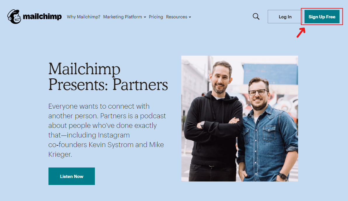 Create a mailing list with mailchimp - sign up free