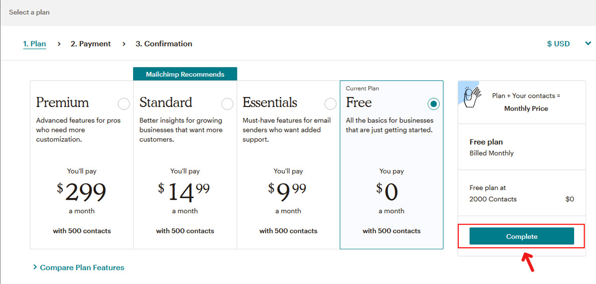 Mailchimp Plans - Get a Free one for new accounts