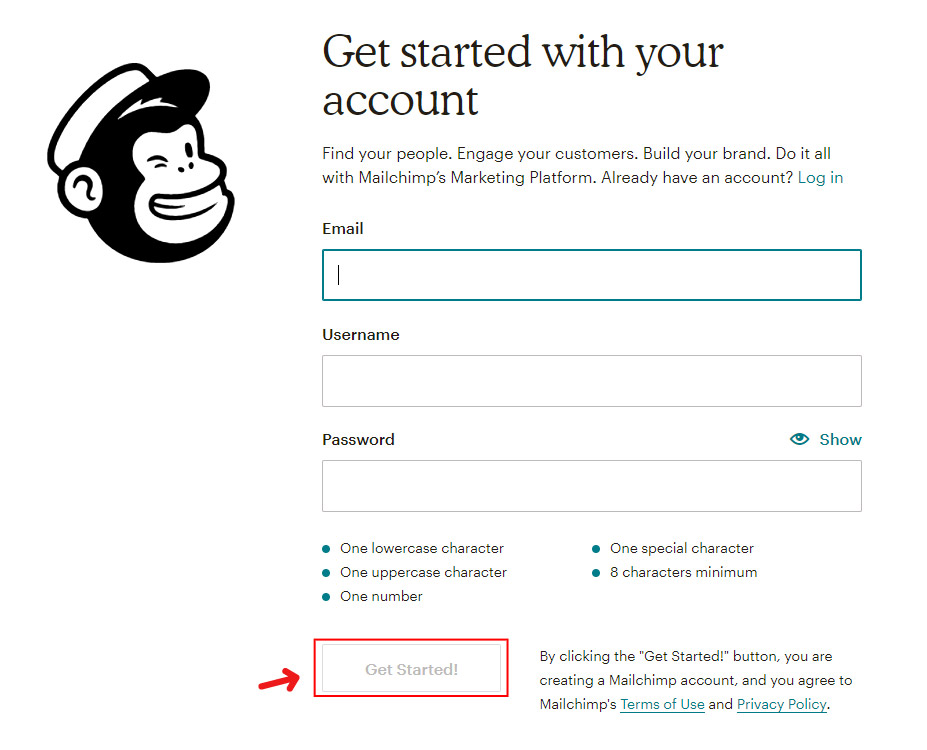 Create a mailing list with mailchimp - get started with your account