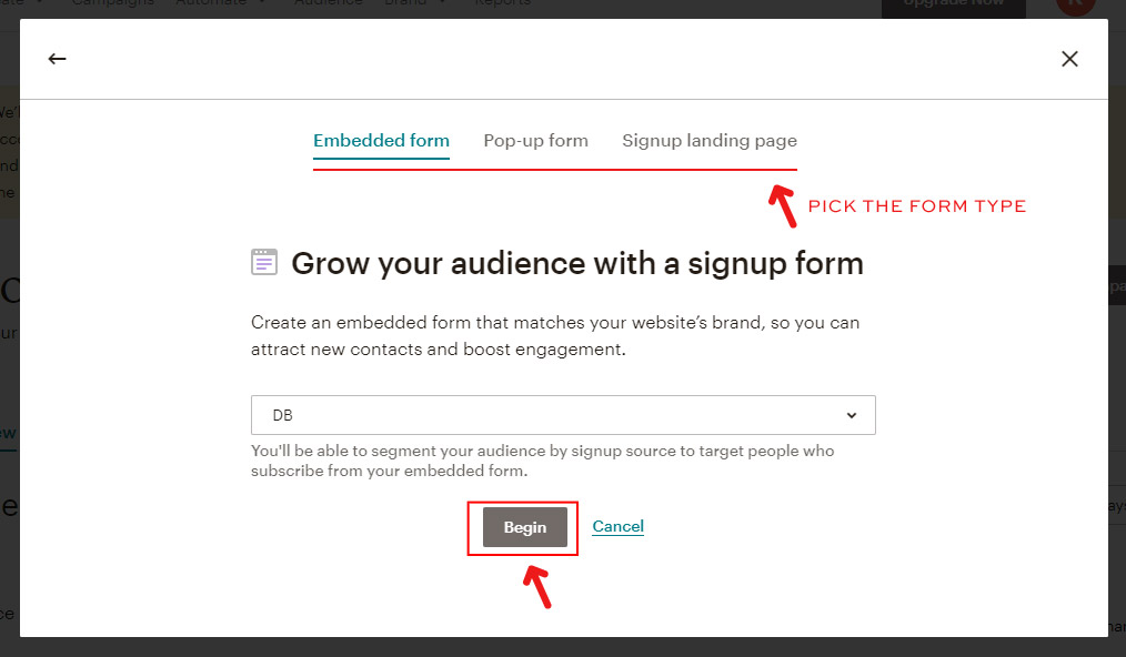 Adding Opt-in to your Mailchimp - choosing form type