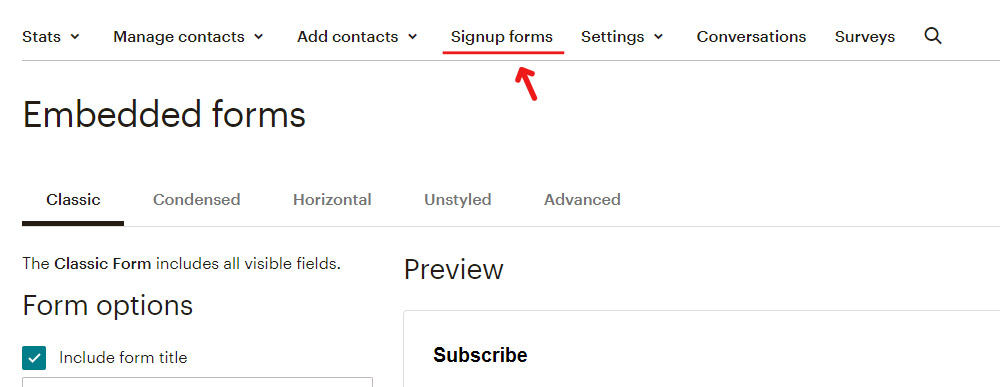Mailchimp form - adding new fields  to your form