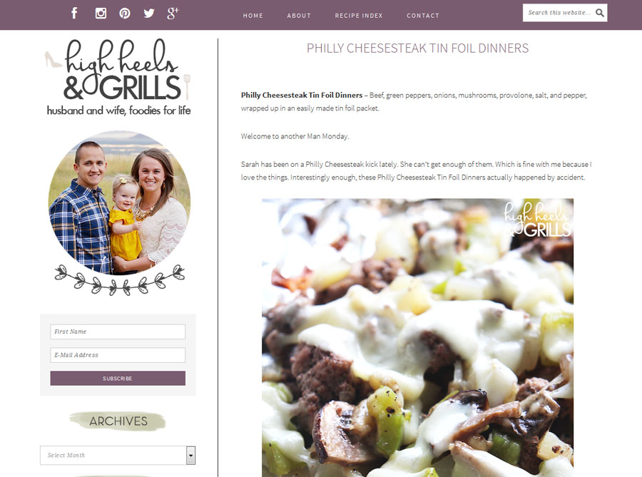 High Heels & Grills | Custom Blog Design | by Erika S.