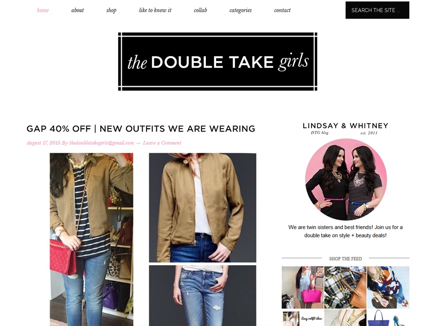 The Double Take Girls | Custom Blog Design | by Erika S.