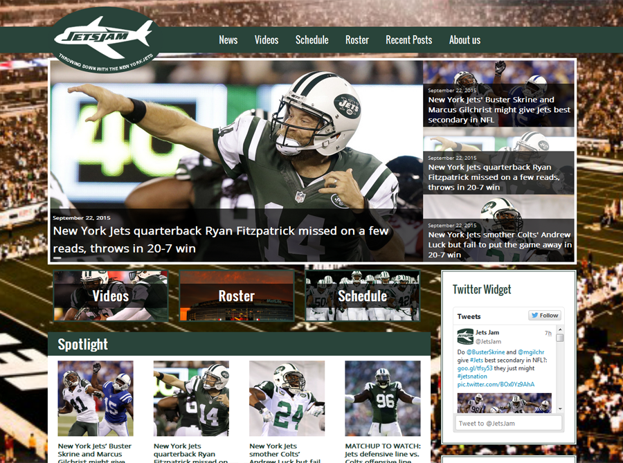 Jets Jam | Custom Website Design | by Kate
