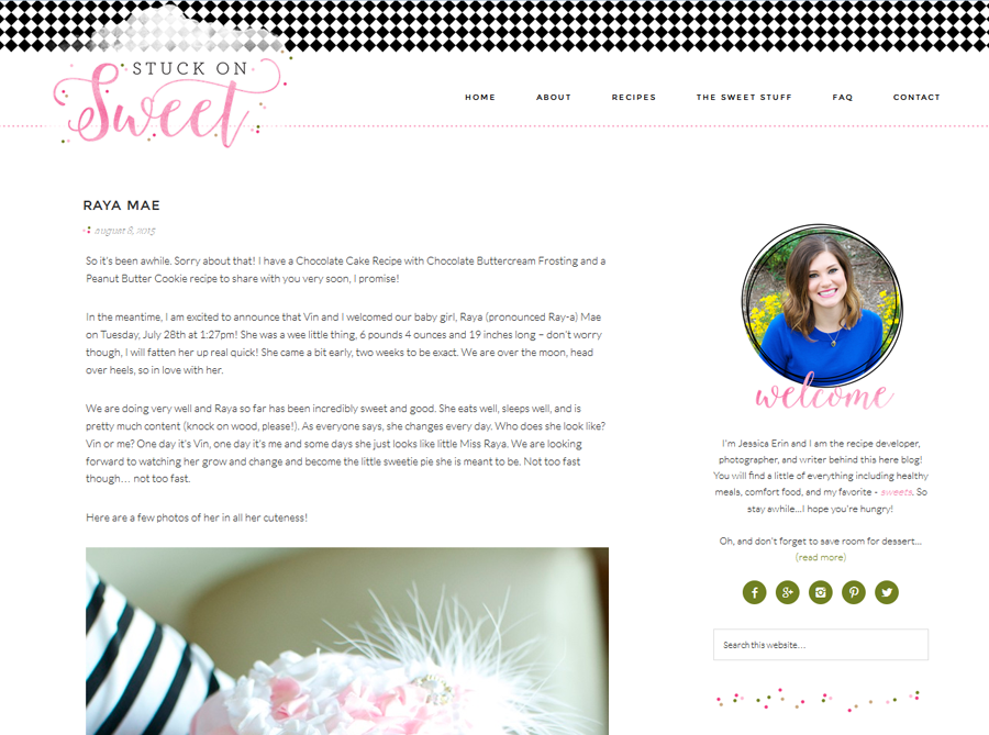 Stuck on Sweet | Custom Blog Design | by Emily