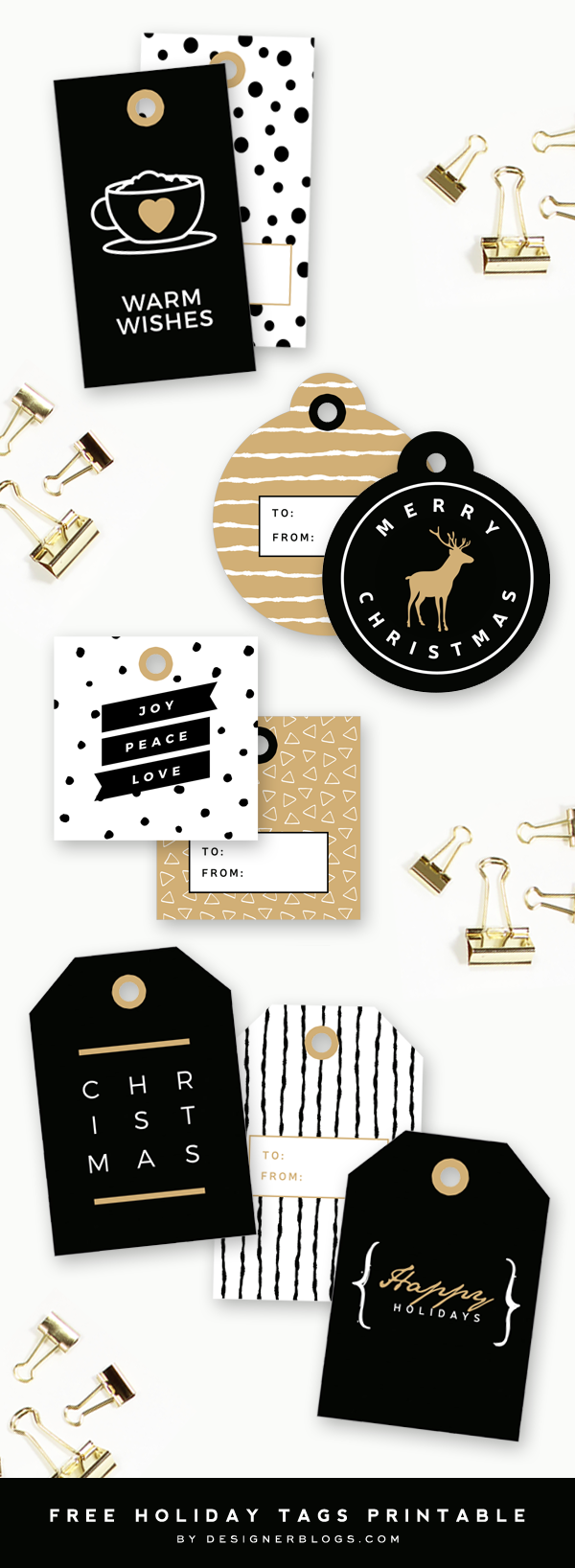 Free Printable Holiday Tags - 9 modern designs in black, white and gold colors.