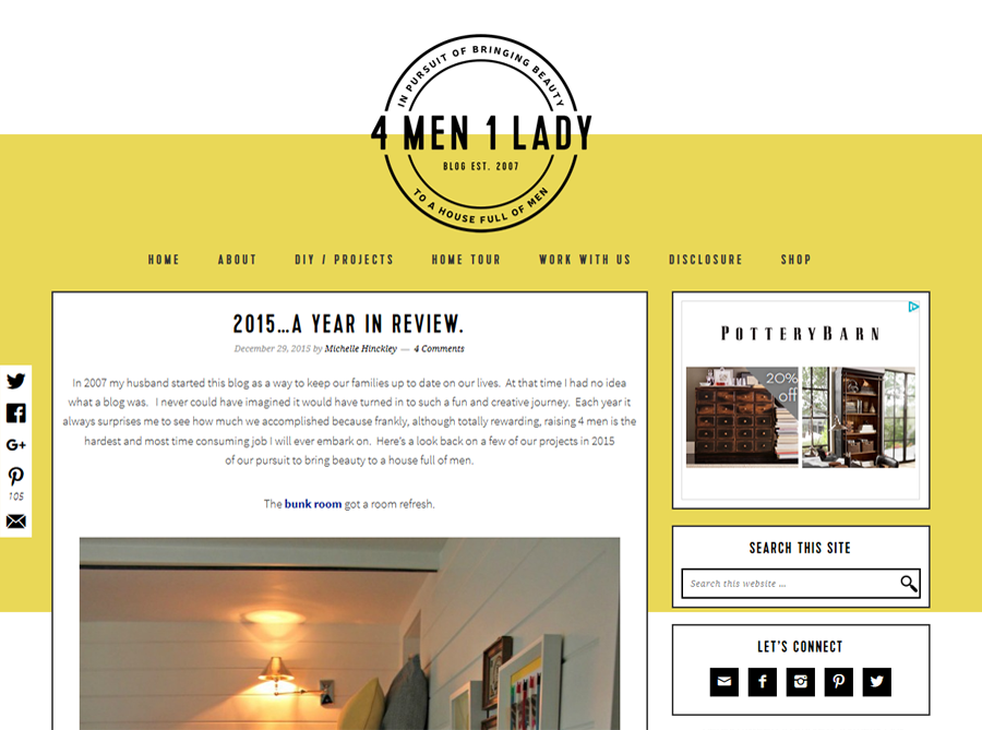 4 Men 1 Lady | Custom Blog Design | by Erika S.