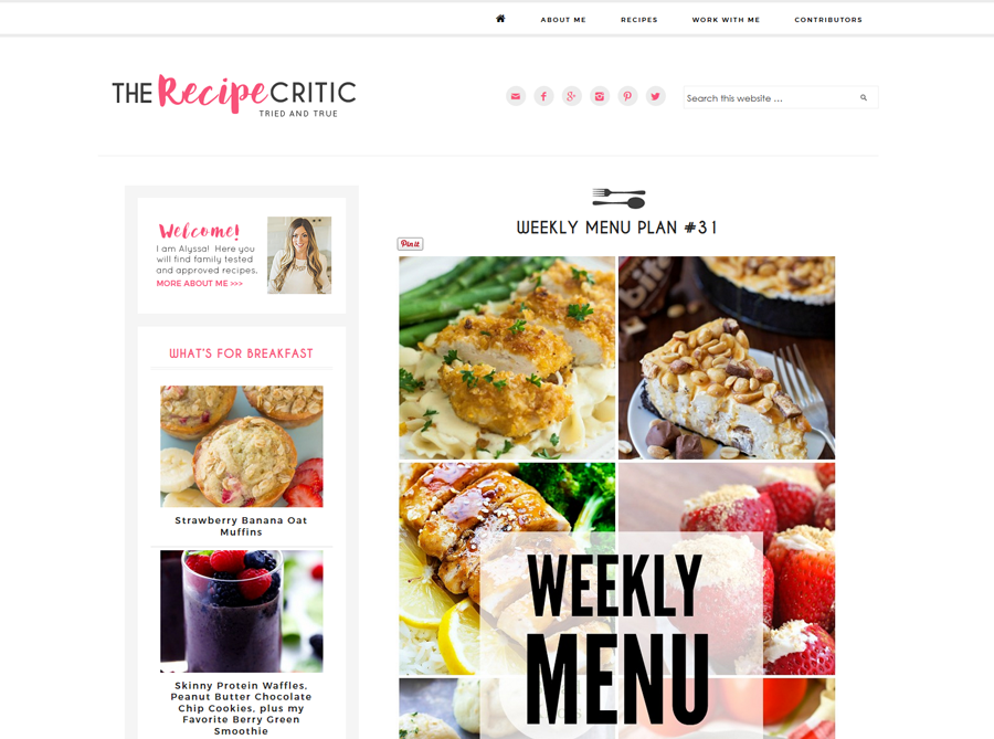 The Recipe Critic | Custom Blog Design | by Kate