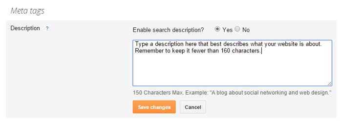 Enabling Meta Tags in Blogger