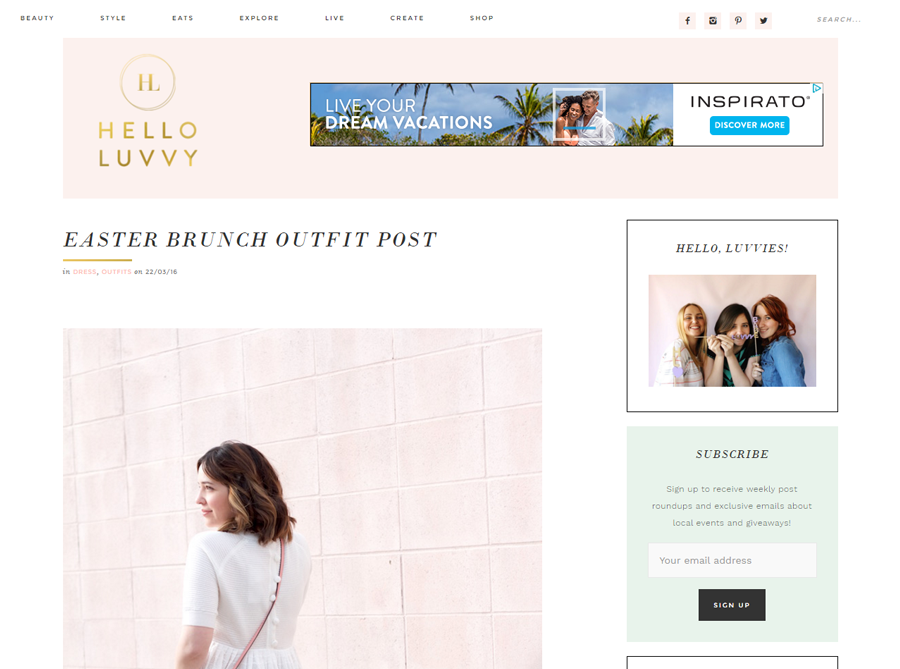 Hello Luvvy | Custom Blog Design | by Emily