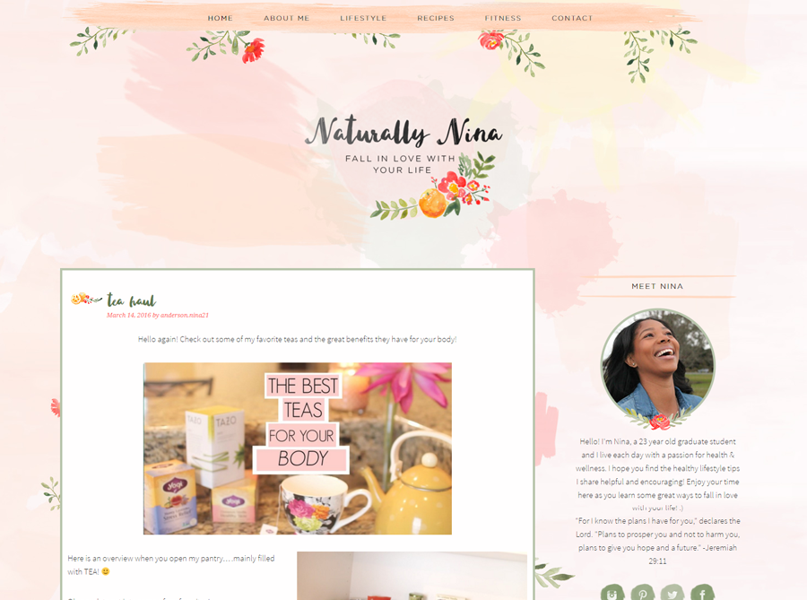 Naturally Nina | Custom Blog Design | by Erika S.