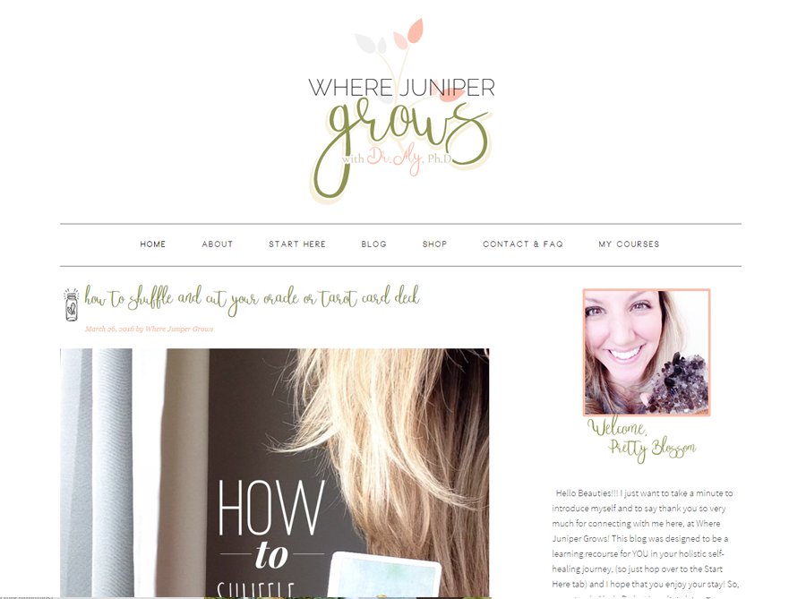 Where Juniper Grows | Custom Blog Design | by Erika S.