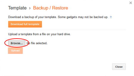 Restore a saved blog backup