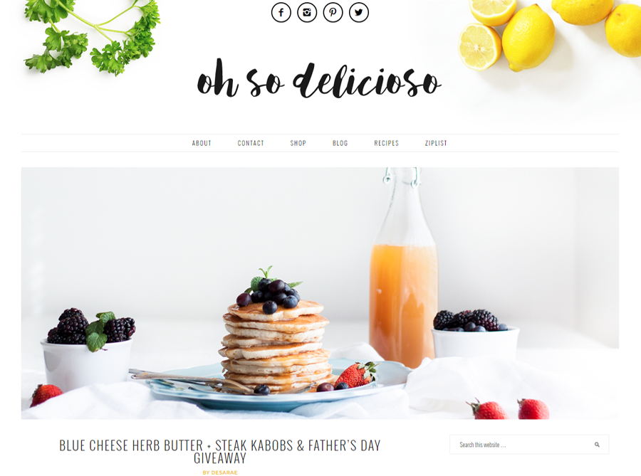 Oh So Delicioso | Custom Blog Design | by Kate