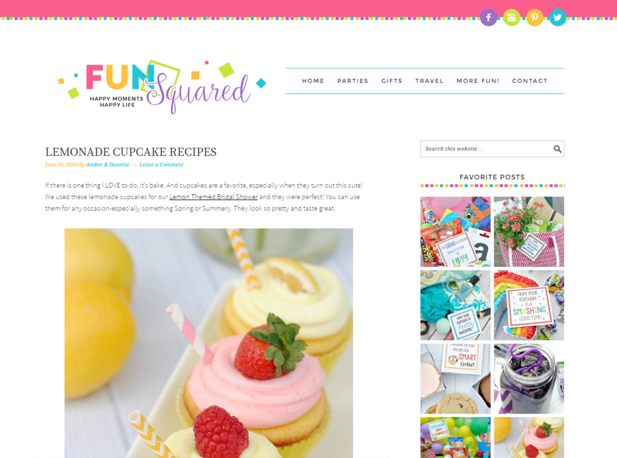 Fun Squared | Custom Blog Design | by Kate