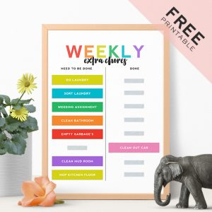 Free Weekly Chore Chart Printable Perfect for Kids