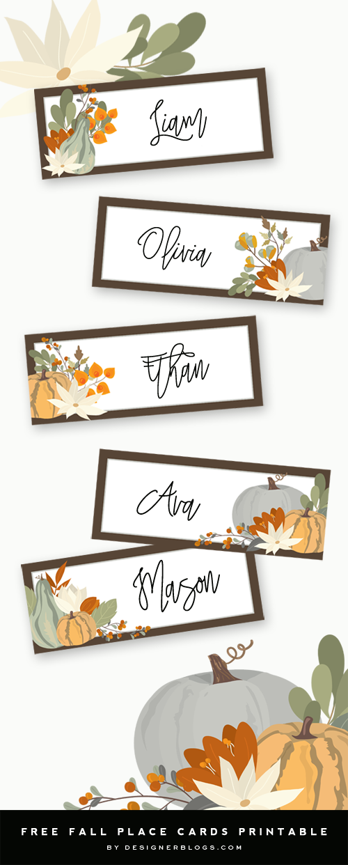 picture about Free Printable Thanksgiving Place Cards identified as Thanksgiving Area Playing cards Printable - Designer Weblogs