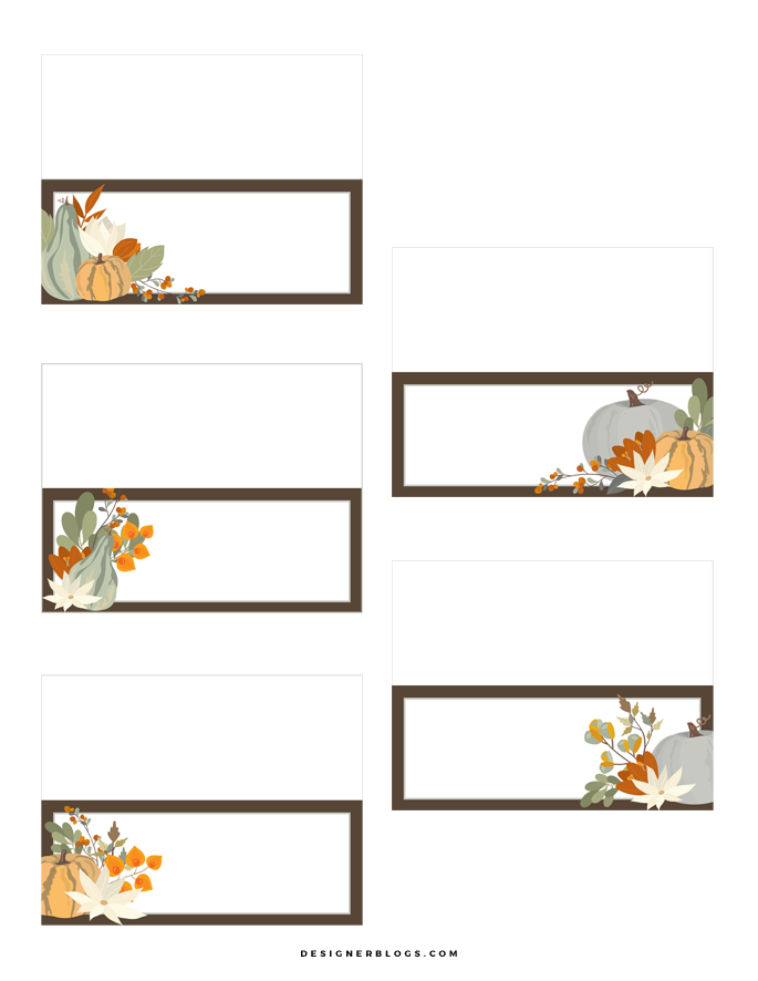 image about Thanksgiving Place Cards Printable titled Thanksgiving Space Playing cards Printable - Designer Weblogs