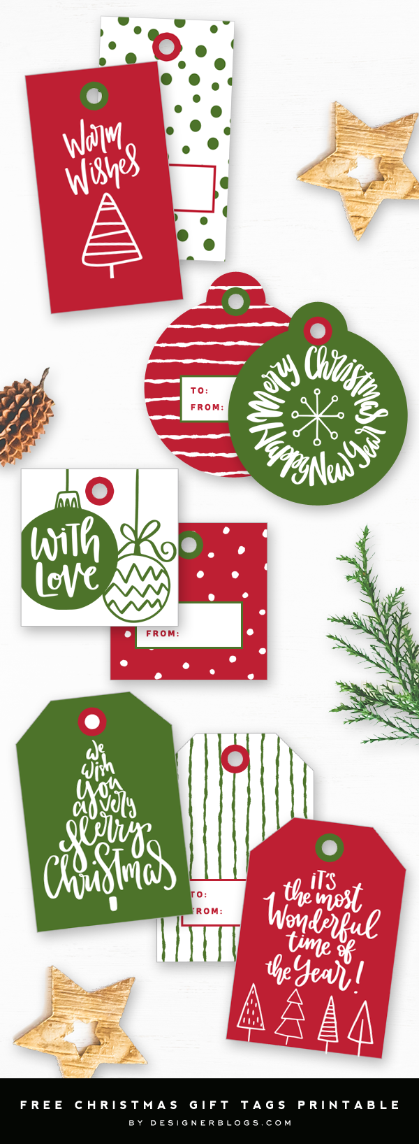 Free Printable Christmas Tags – 9 Different Designs!