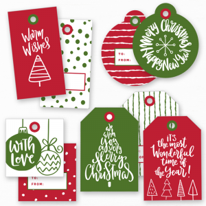 Free Printable Christmas Tags in red & green