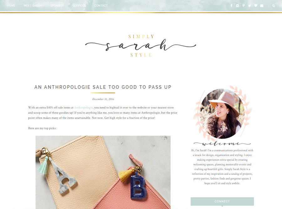 Simply Sarah Style | Custom Blog Design | by Lindsey
