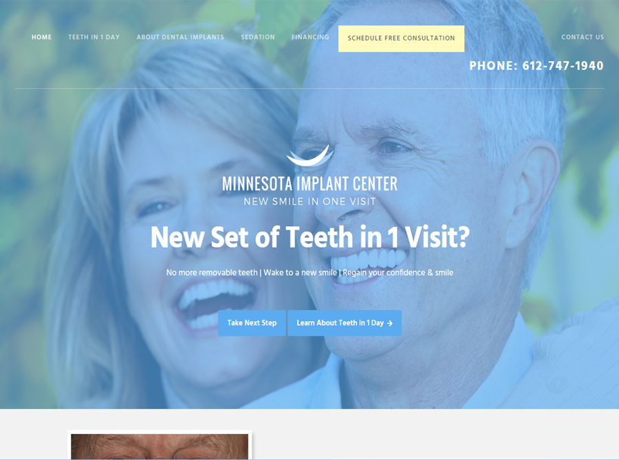 Minnesota Implant Center | Custom Website Design | by Kate