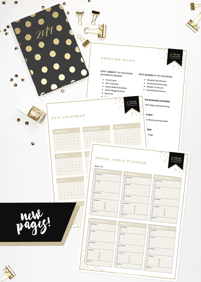 Designer Blogs new 2017 blog planner pages! - designer blogs