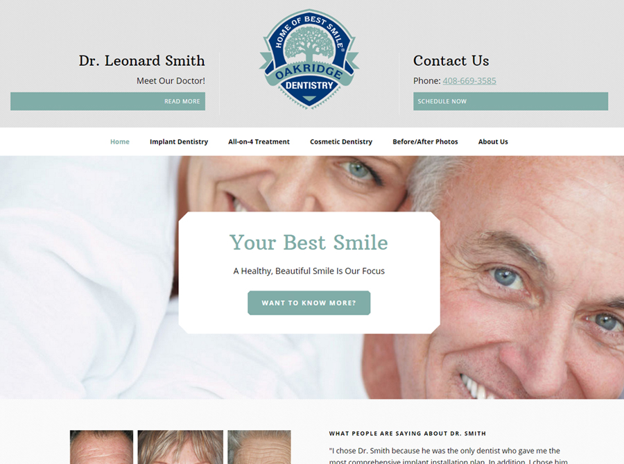 Oakridge Dentistry | Custom Website Design | by Kate