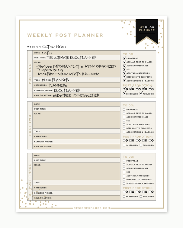 15 Essential Things to Do Before and After You Hit Publish | Weekly Post Planner Example | Designer Blogs