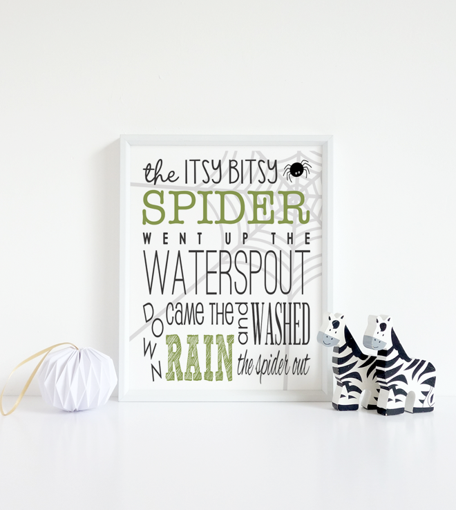 Itsy Bitsy Spider Free Printable | Click to Download | DesignerBlogs.com