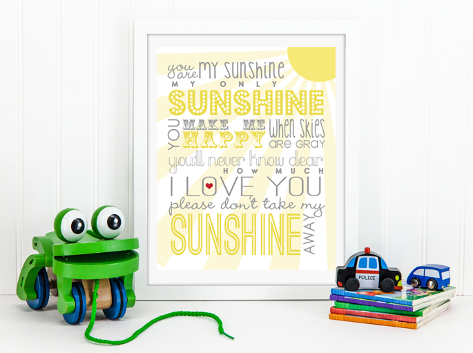 You Are My Sunshine Free Printable | Click to Download | DesignerBlogs.com