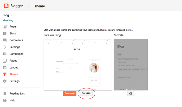 Blogger edit HTML page