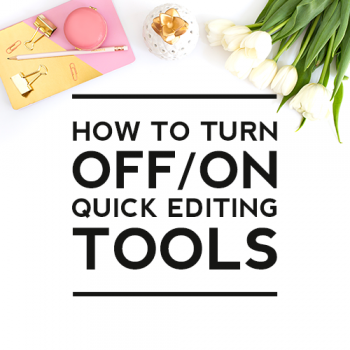 How to Turn On/Off Quick Editing Tools