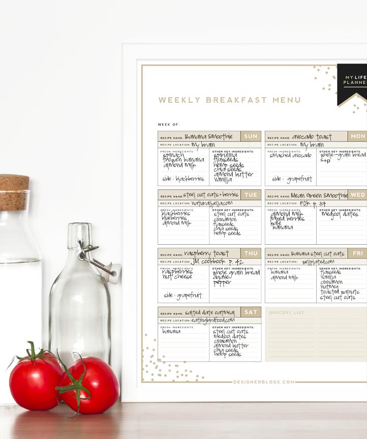 Weekly Breakfast Menu | Designer Blogs