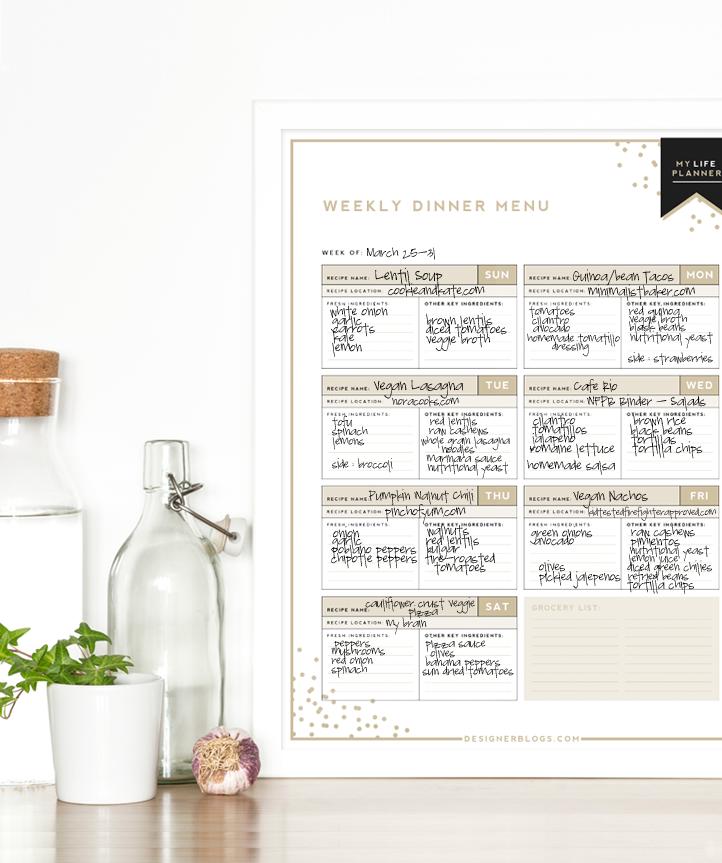 Weekly Dinner Menu | Designer Blogs